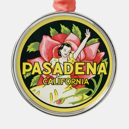 Vintage Travel, Pasadena California, Lady And Rose Metal