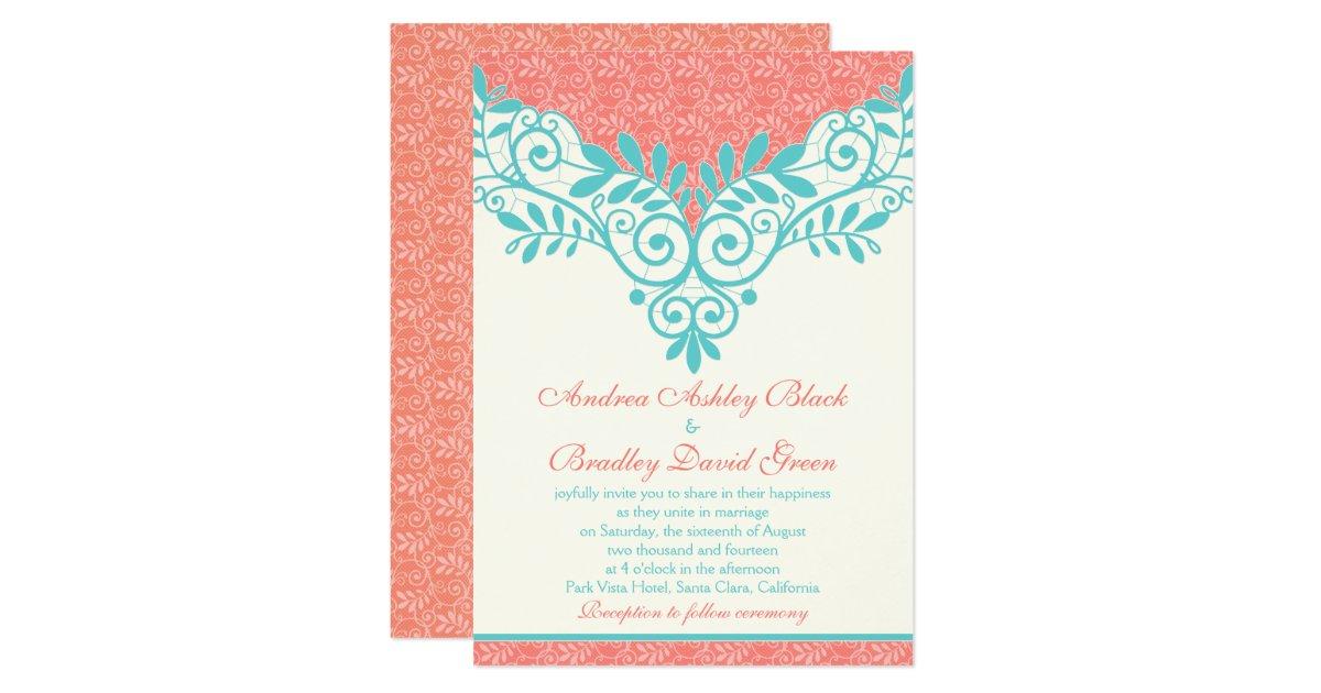 Wedding Invitations Turquoise: Vintage Turquoise Coral Lace Wedding Invitation