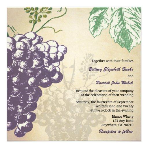 Winery Wedding Invitations: Vintage Tuscan Winery Vineyard Wedding Invitations 5.25