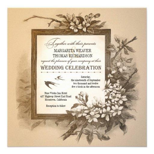 Unique Elegant Wedding Invitations: Vintage Typographic Unique Elegant Wedding Invites 5.25