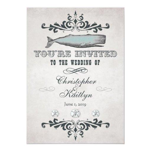 Vintage Beach Wedding Invitations: Vintage Victorian Beach Whale Wedding Invitations