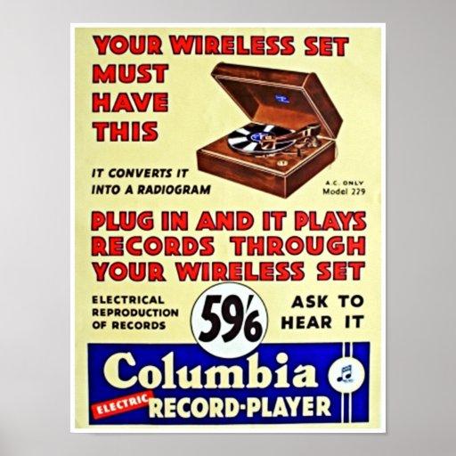 Vintage Vinyl Record Player Advertising Poster Zazzle