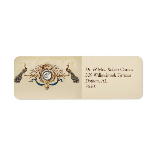 Vintage Wedding Invitation Return Address Labels