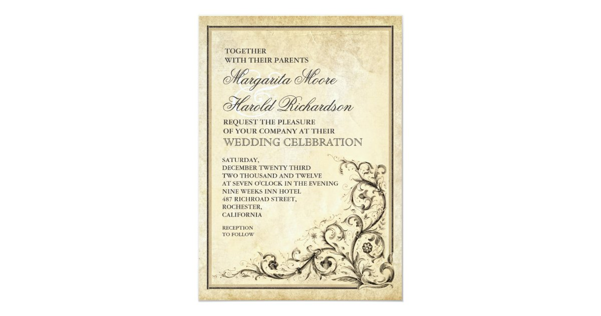 Flourish Wedding Invitations: Vintage Wedding Invitation With Flourish Swirls