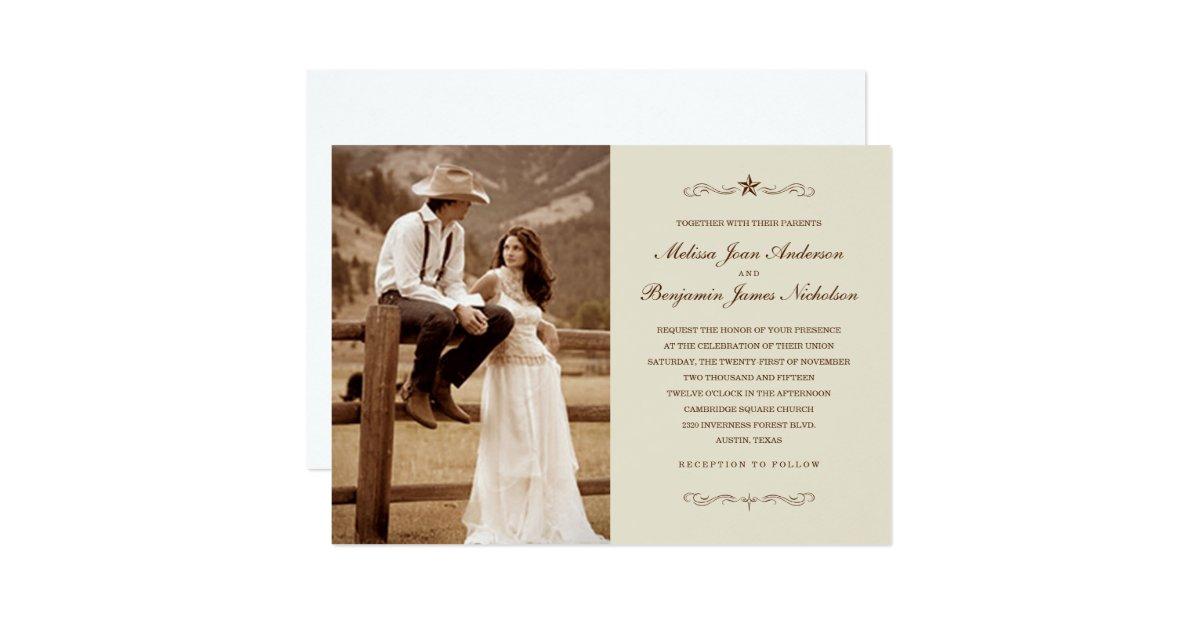 Western Wedding Invites: Vintage Western Photo Wedding Invitations