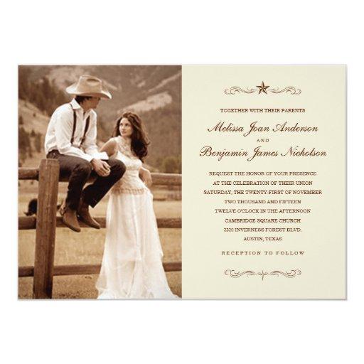 Western Wedding Invitations: Vintage Western Photo Wedding Invitations