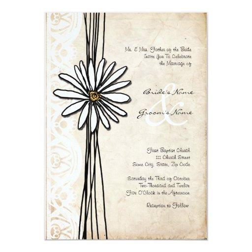 Vintage White Daisy Wedding Invitation