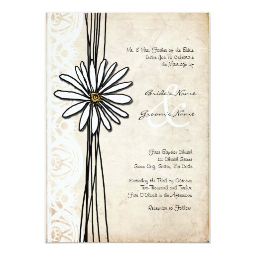 White Daisy Heart Wedding Invitation: Vintage White Daisy Wedding Invitation
