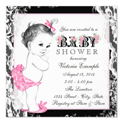 Vintage White Lace Pink And Black Baby Shower Invitation