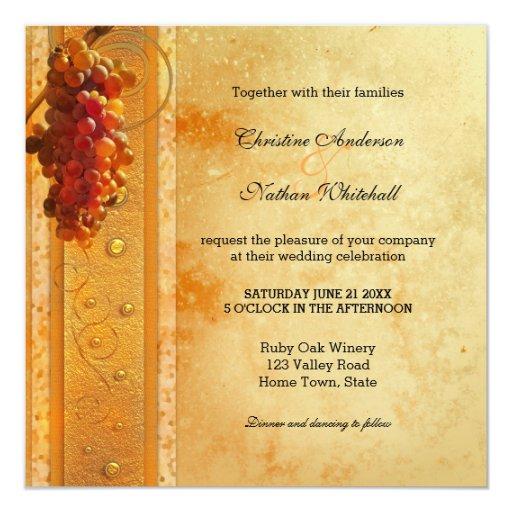 Winery Wedding Invitations: Vintage Wine Or Vineyard Theme Wedding Invitation