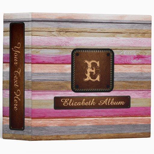 Vintage Wood Elegant Album Leather Look #20 3 Ring Binder