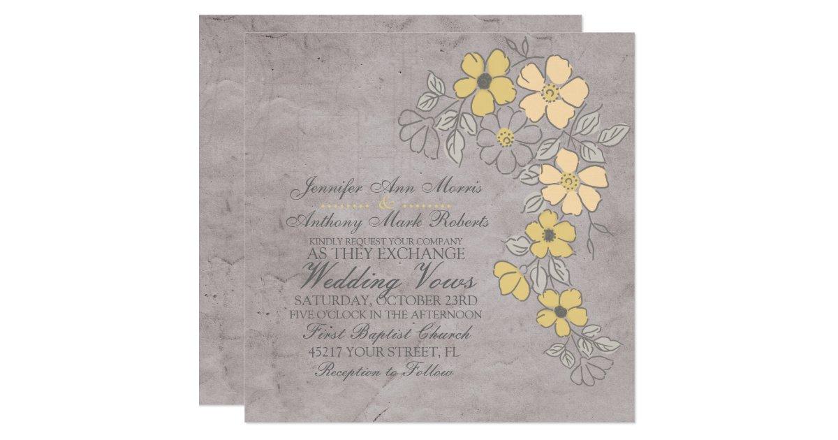 Yellow Grey Wedding Invitations: Vintage Yellow And Gray Floral Wedding Invitation