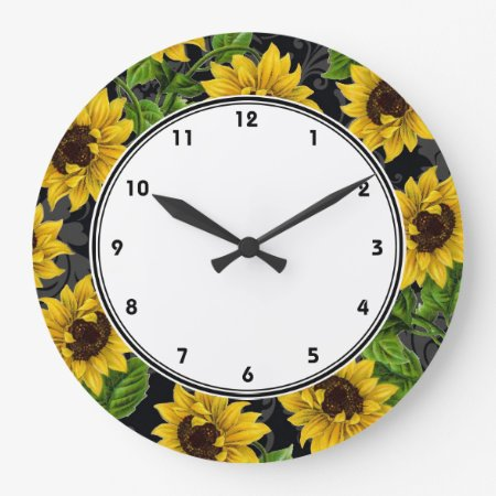 Vintage yellow sunflowers on black wall clock