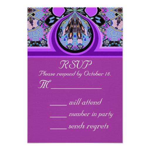 "Violet Lavender RSVP Party Invitation Reply Card 3.5"" X 5"
