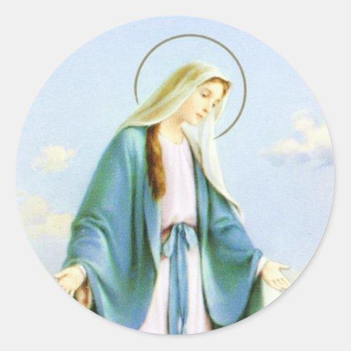 Virgin Mary Crescent Moon Classic Round Sticker Zazzle