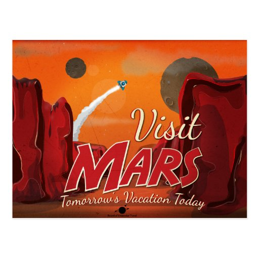 Visit Mars Vintage Poster Postcard   Zazzle