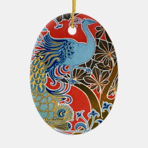 vivid art nouveau peacock ceramic ornament zazzle. Black Bedroom Furniture Sets. Home Design Ideas