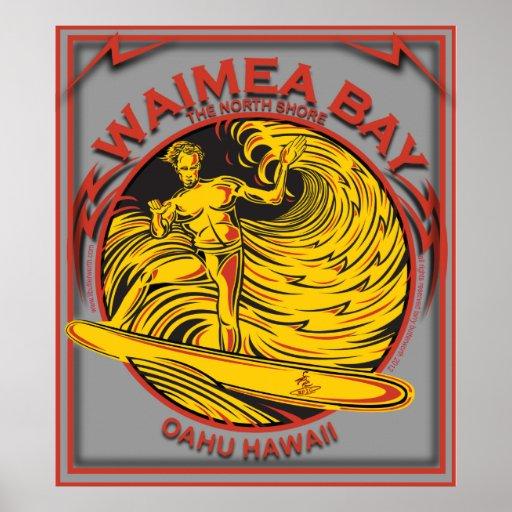 WAIMEA BAY NORTH SHORE HAWAII SURFING POSTER