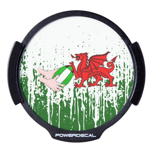 Wales Rugby Team Supporters Flag With Ball LED Car Decal