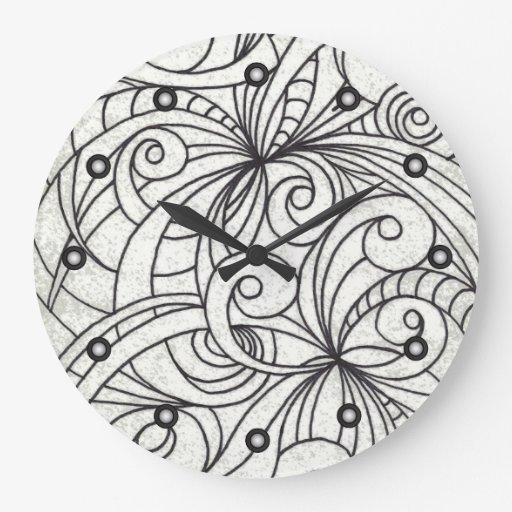Wall Clock Drawing floral abstract   Zazzle