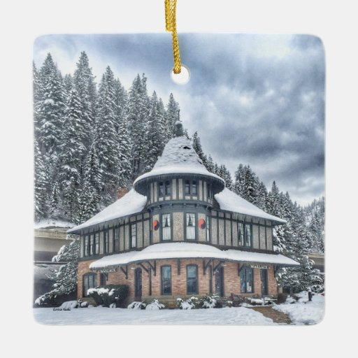 Christmas Tree Shop Binghamton Ny: Wallace Idaho Depot In Winter Ceramic Ornament