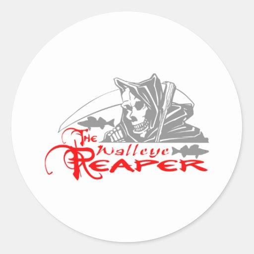 WALLEYE REAPER CLASSIC ROUND STICKER | Zazzle