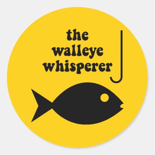 walleye whisperer fishing classic round sticker | Zazzle