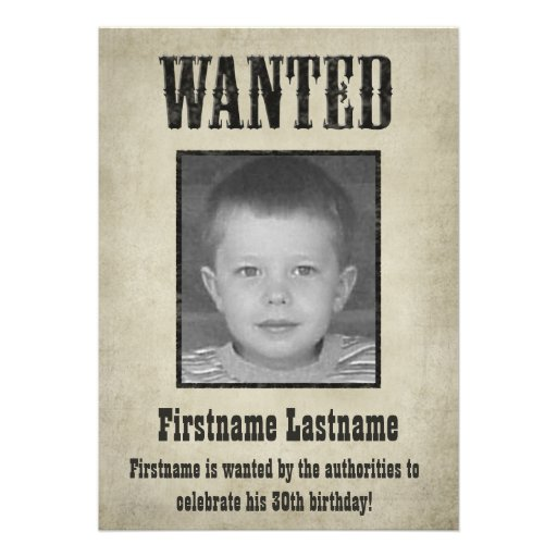 wanted poster birthday invitation 5 x 7 invitation. Black Bedroom Furniture Sets. Home Design Ideas