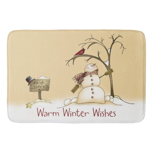 Warm Winter Wishes Bath Mat Zazzle