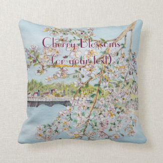 Washington DC Cherry Blossoms Watercolor Painting Pillow