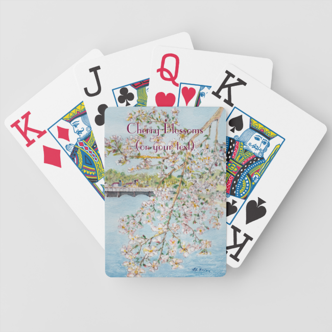 Washington DC Cherry Blossoms Watercolor Painting Bicycle Playing Cards