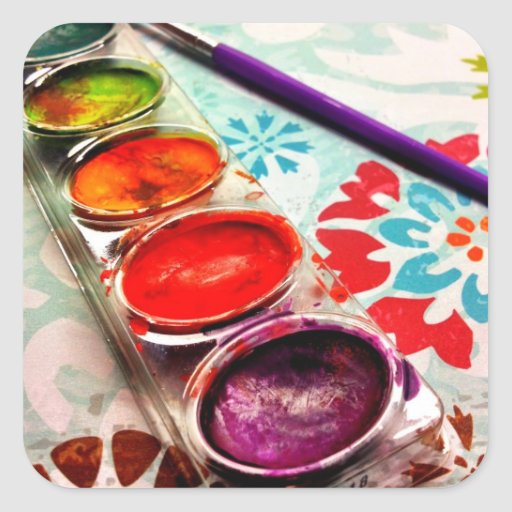 Watercolor Flowers And Paint Brushes: Watercolor Artist Paint Tray And Brush On Flowers Stickers