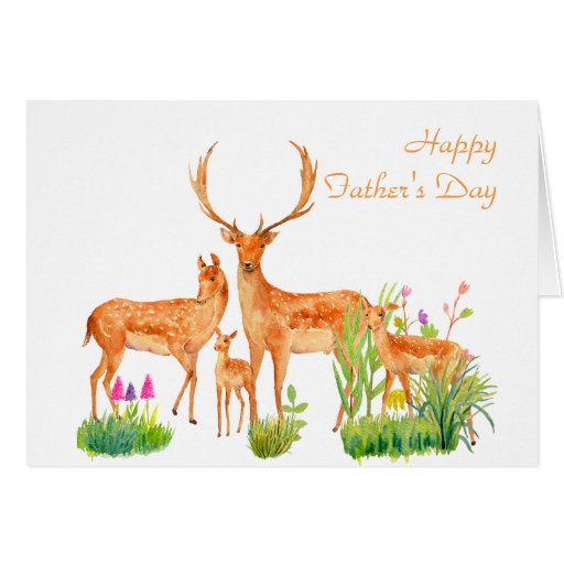 Watercolor Deer Family Father's day Card | Zazzle