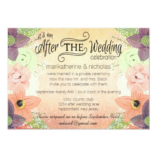 Wedding And Reception Invitations: Watercolor Flowers After Wedding Invitations