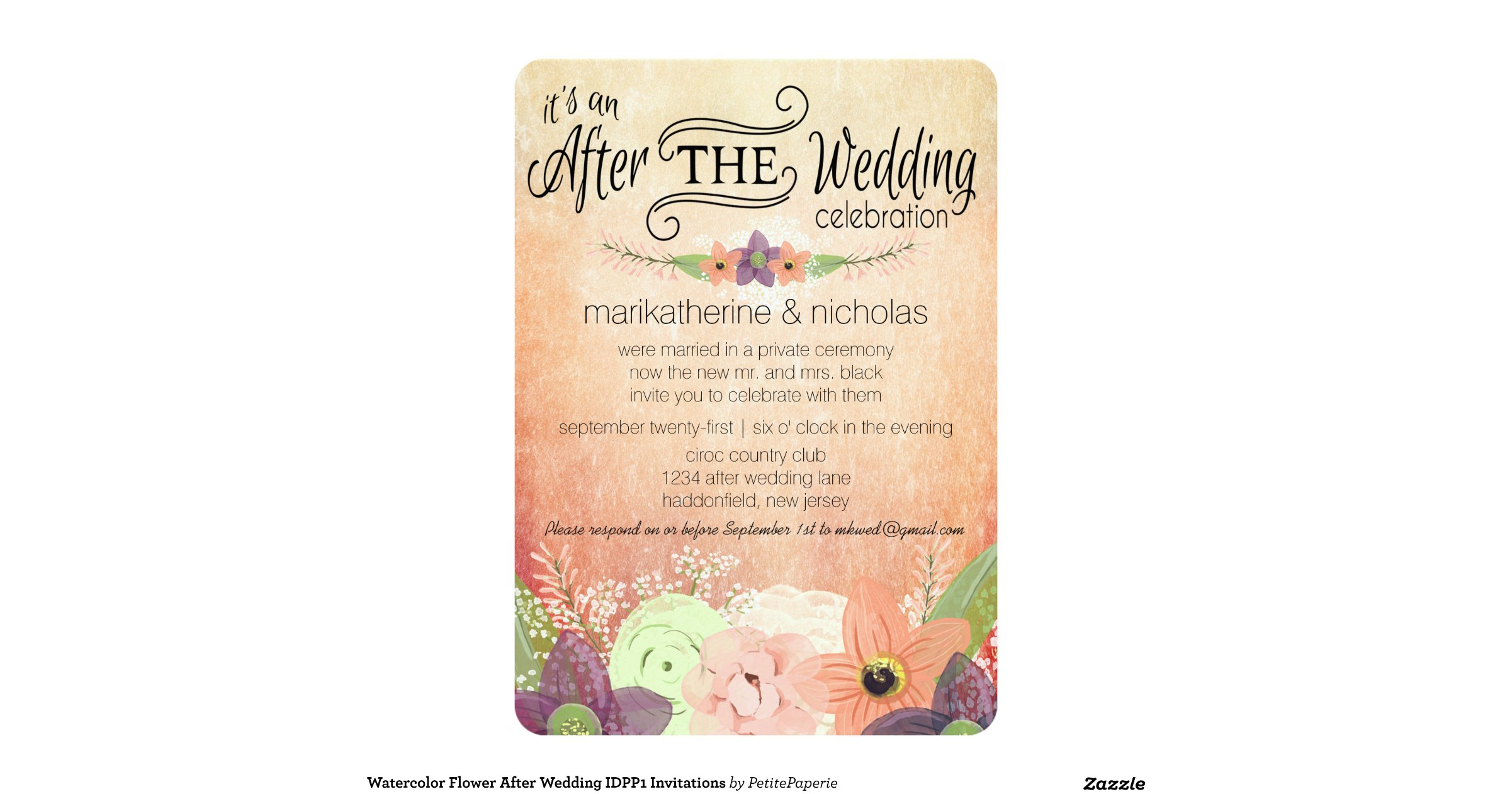 After The Wedding Party Invitations: Watercolor Flowers After Wedding Party Invitations