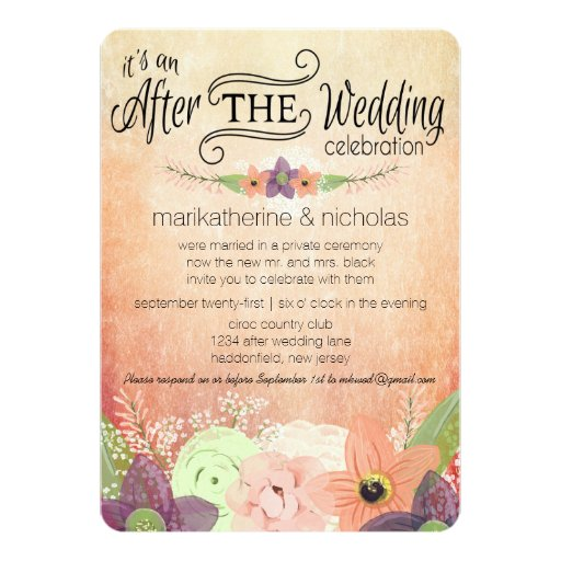 Wedding Celebration Invitations Wording: Watercolor Flowers After Wedding Party Invitations