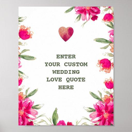 Wedding Flowers Quote: Watercolor Flowers Custom Wedding Love Quote Print