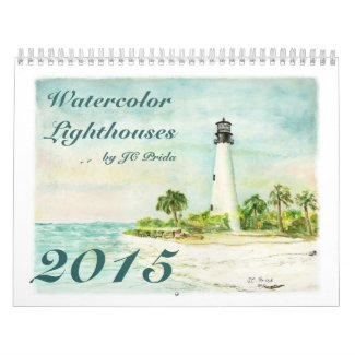 Watercolor Lighthouses Fine Art Calendar for 2015