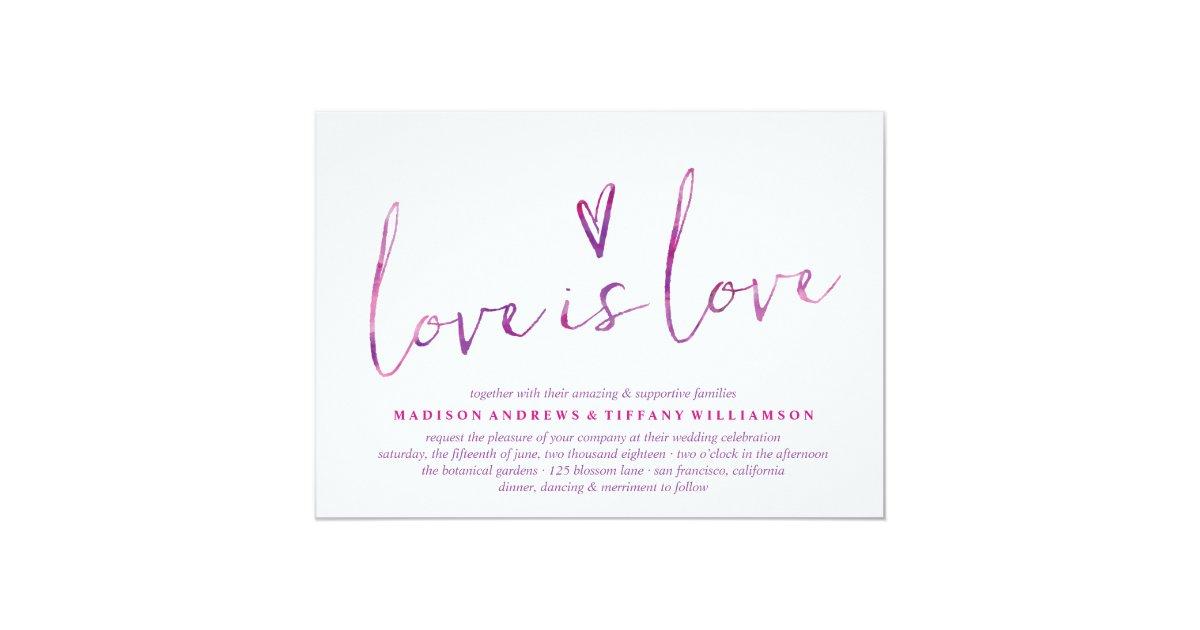 Gay Wedding Invitations: Watercolor Love Is Love Gay Wedding Invitations