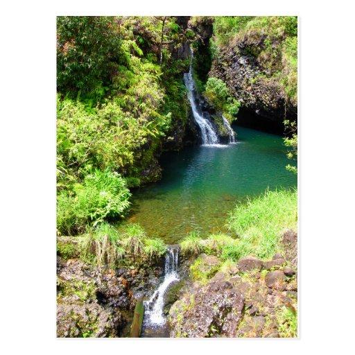 Maui Off Road >> Waterfalls along the Road to Hana, Maui, Hawaii Postcard ...