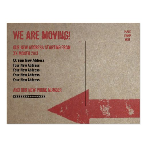 39 we are moving 39 card template postcard zazzle. Black Bedroom Furniture Sets. Home Design Ideas