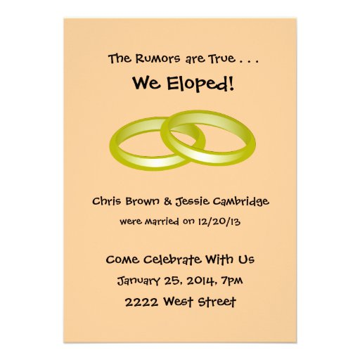 "Post Wedding Party Invitation: We Eloped! Post Wedding Party Invitation 5"" X 7"
