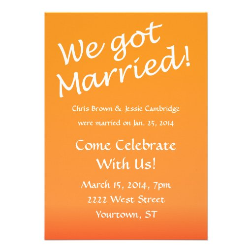 "Post Wedding Party Invitation: We Got Married! Post Wedding Party Invitation 5"" X 7"