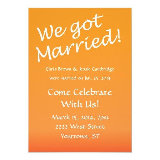 Post Wedding Party Invitation Wording: We Got Married! Post Wedding Party Invitation