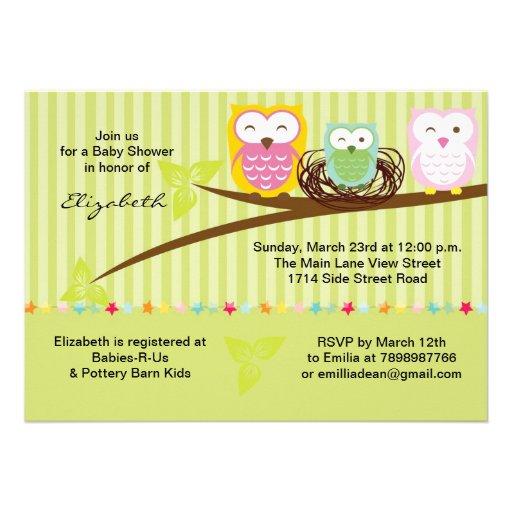 "Family Baby Shower Invitations: We Three Owl Family Neutral Baby Shower Invitation 5"" X 7"
