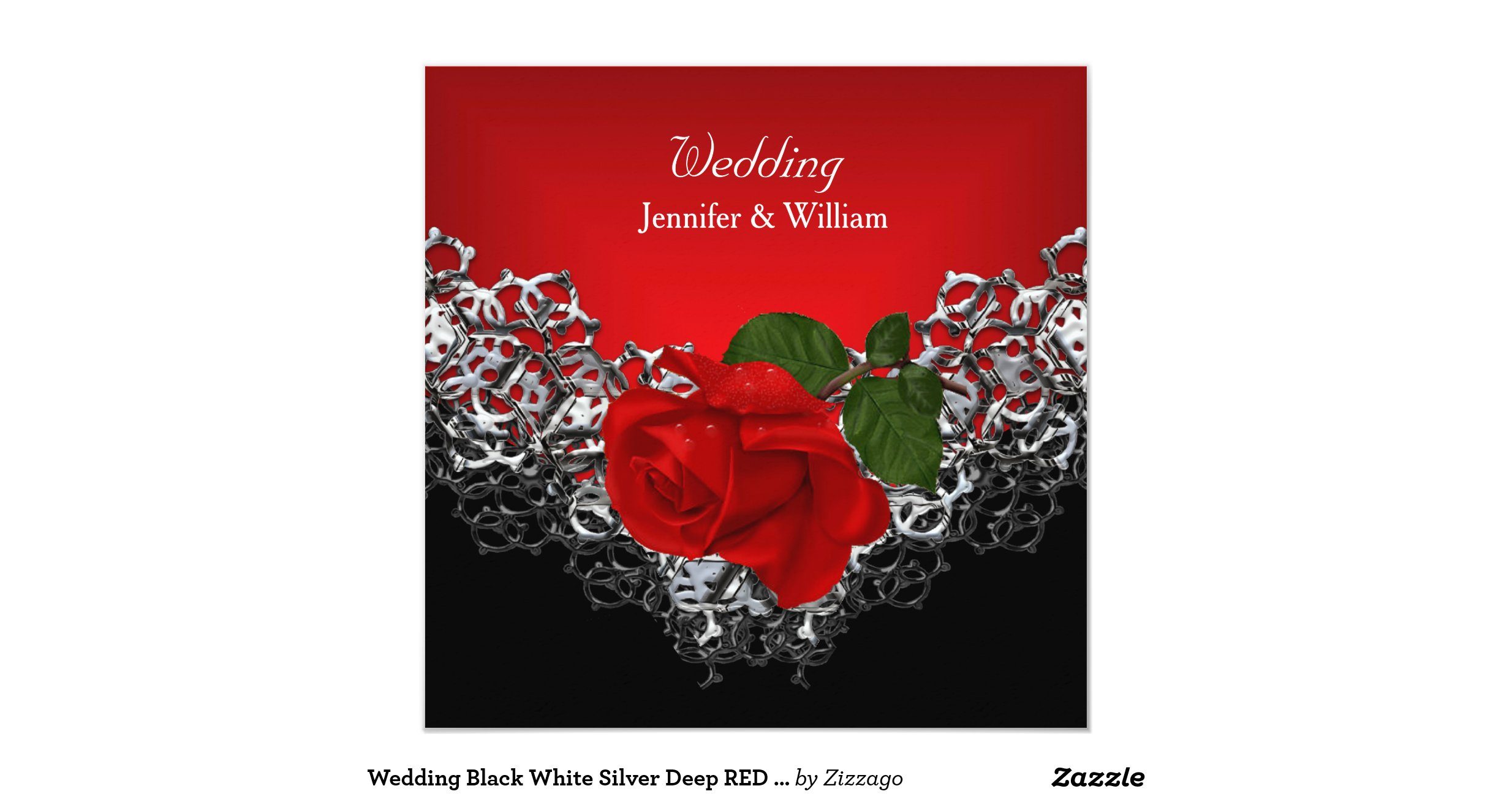 Red Black And Silver Wedding Invitations: Wedding_black_white_silver_deep_red_rose_invitation