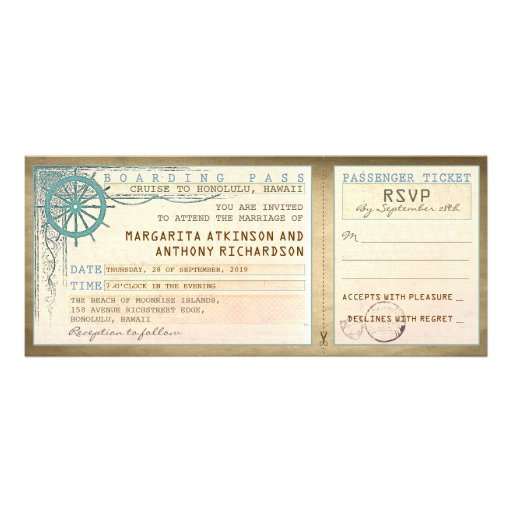 Wedding Boarding Pass-vintage Tickets With RSVP 4x9.25