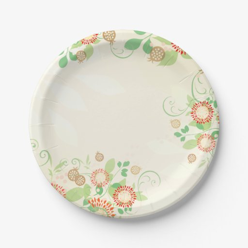 Wedding Bridal Peach Floral Paper Plates Zazzle