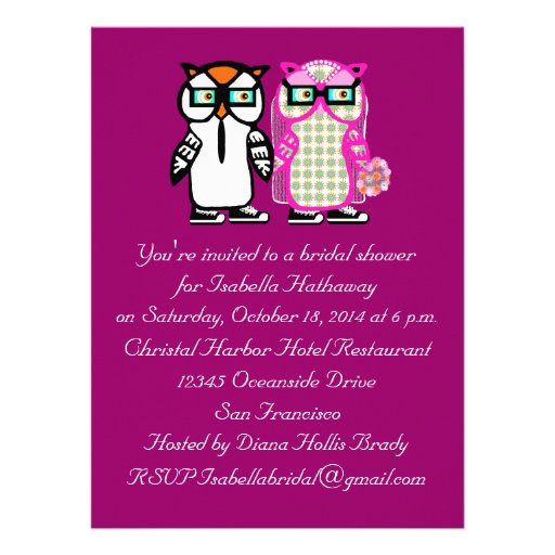 "Wedding Bride & Groom Owl Bridal Shower Invitation 6.5"" X"