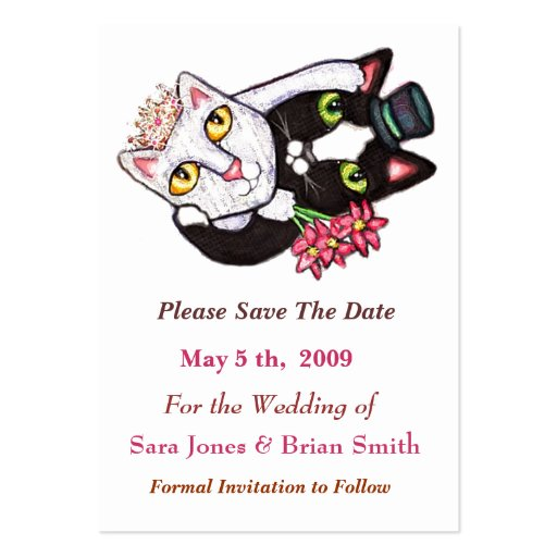 Wedding cat groom bride save the date card large for Save the cat template